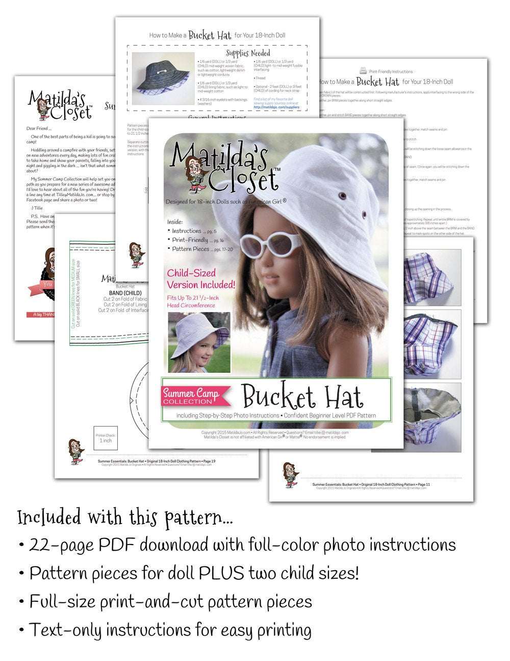 e4c96ed52effe Matilda s Closet Summer Camp Collection  Bucket Hat for Girls and ...