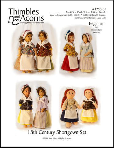 18th Century Shortgown Set Bundle Size Doll Clothes Pattern