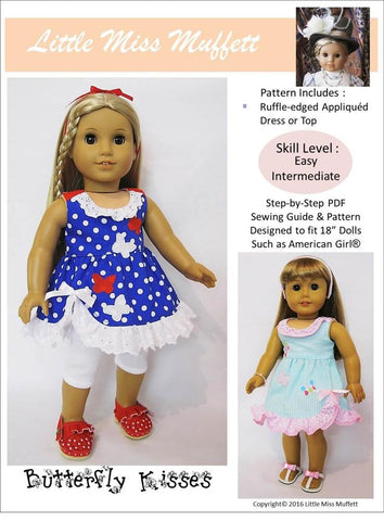 "Little Miss Muffett 18 Inch Modern Butterfly Kisses 18"" Doll Clothes Pattern Pixie Faire"