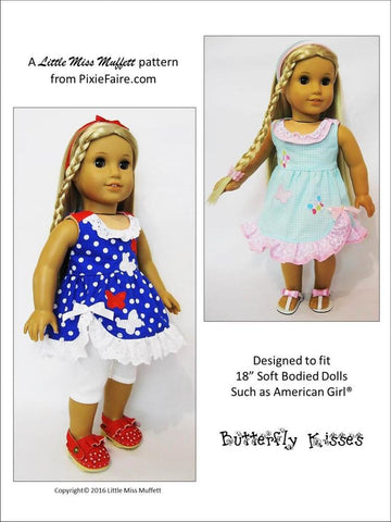 "Butterfly Kisses 18"" Doll Clothes Pattern"