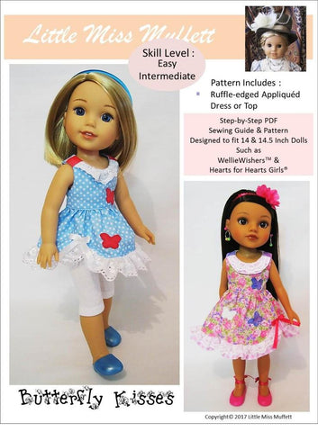 "Butterfly Kisses 14-14.5"" Doll Clothes Pattern"