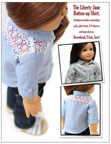 Liberty Jane Button Up Shirt 18 inch Doll Clothes Pattern