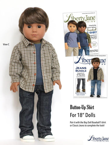"Liberty Jane 18 Inch Modern Button Up Shirt Bundle for Girls and Boys 18"" Doll Clothes Pattern Pixie Faire"
