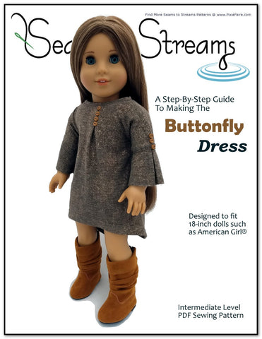"Seams to Streams 18 Inch Modern Buttonfly Dress 18"" Doll Clothes Pattern Pixie Faire"