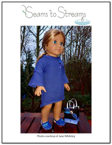 "Buttonfly Dress 18"" Doll Clothes Pattern"