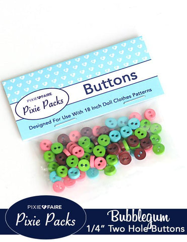 "Pixie Packs 1/4"" Buttons Bubblegum"