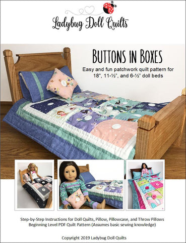 PDF doll bedding quilting pattern buttons in boxes quilt for American Girl Barbie Mini WellieWishers Dolls