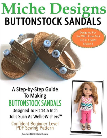 pdf doll clothes sewing pattern Miche Designs Buttonstock sandals designed to fit 14.5 inch WellieWishers dolls