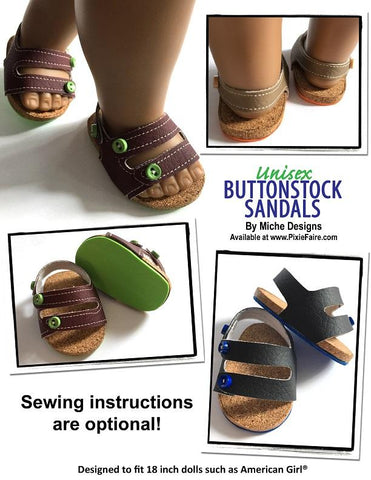 pdf sewing pattern Miche Designs Buttonstock Sandals designed to fit 18 inch American Girl dolls