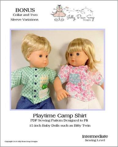 "Jelly Bean Soup Designs Bitty Baby/Twin Playtime Camp Shirts 15"" Baby Doll Clothes Pattern Pixie Faire"