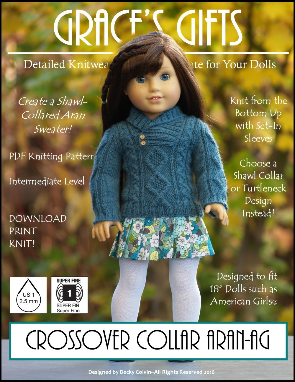 Grace\'s Gifts Crossover Collar Aran Doll Clothes Pattern 18 inch ...