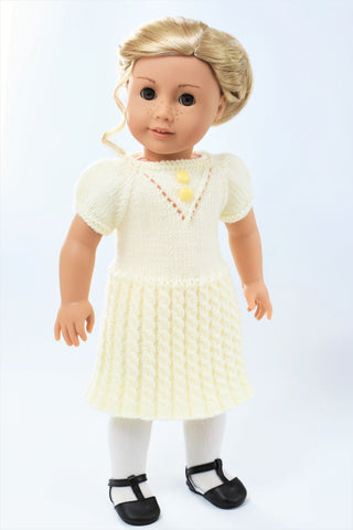"Cheerful Cables Knit Dress 18"" Doll Clothes Knitting Pattern"