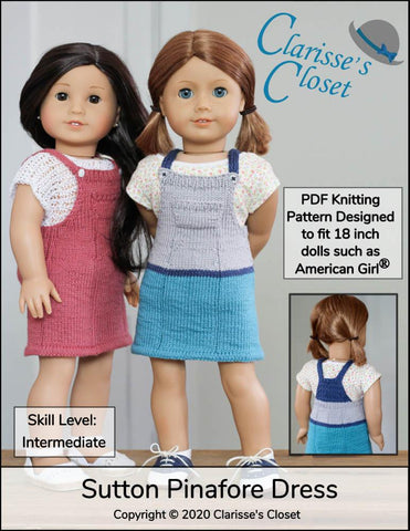 "Clarisse's Closet Knitting Sutton Pinafore Dress 18"" Doll Clothes Knitting Pattern Pixie Faire"