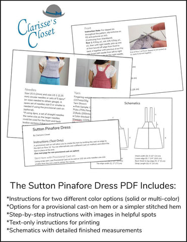 "Sutton Pinafore Dress 18"" Doll Clothes Knitting Pattern"