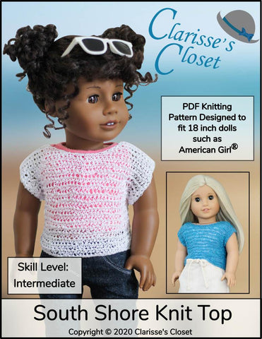 "Clarisse's Closet Knitting South Shore Knit Top 18"" Doll Clothes Knitting Pattern Pixie Faire"