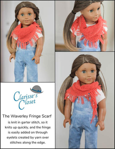 "Clarisse's Closet Knitting Waverley Fringe Scarf 18"" Doll Clothes Knitting Pattern Pixie Faire"