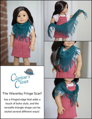 "Waverley Fringe Scarf 18"" Doll Clothes Knitting Pattern"
