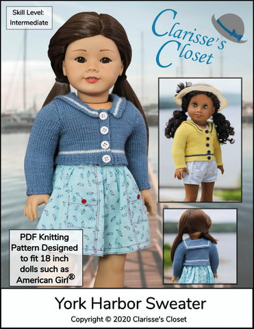 "Clarisse's Closet Knitting York Harbor Sweater 18"" Doll Clothes Knitting Pattern Pixie Faire"