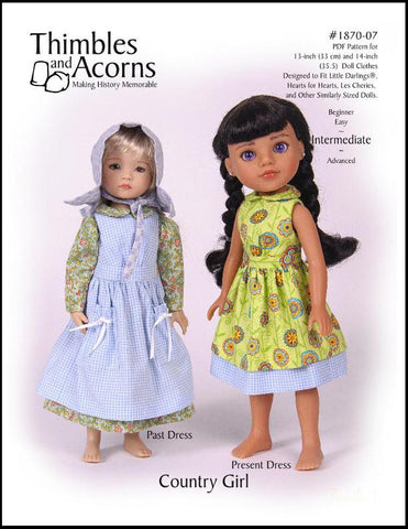 "Thimbles and Acorns Little Darling Country Girl for 13-14"" Dolls Pixie Faire"