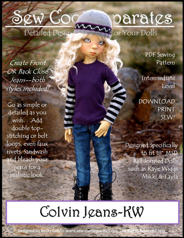 Sew Cool Separates BJD Colvin Jeans Pattern for MSD Ball Jointed Dolls Pixie Faire