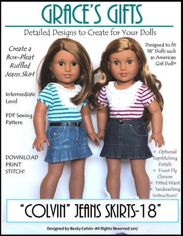 "Grace's Gifts 18 Inch Modern ""Colvin"" Jeans Skirt 18"" Doll Clothes Pattern Pixie Faire"