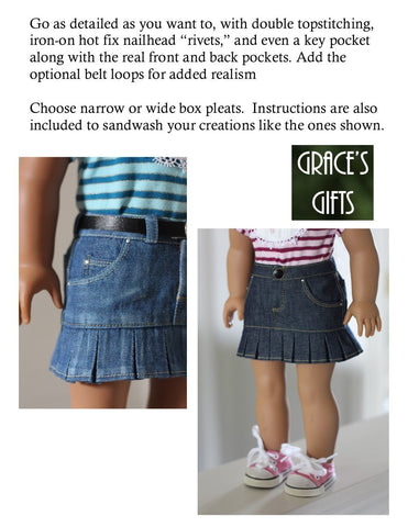 """Colvin"" Jeans Skirt 18"" Doll Clothes Pattern"