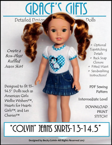 """Colvin"" Jeans Skirt 13-14.5"" Doll Clothes Pattern"