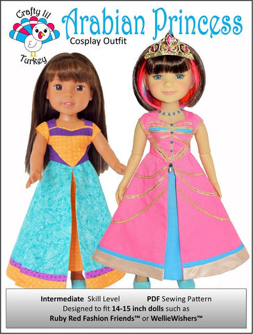 "Crafty Lil Turkey WellieWishers Arabian Princess Cosplay Outfit 14-15"" Doll Clothes Pattern Pixie Faire"