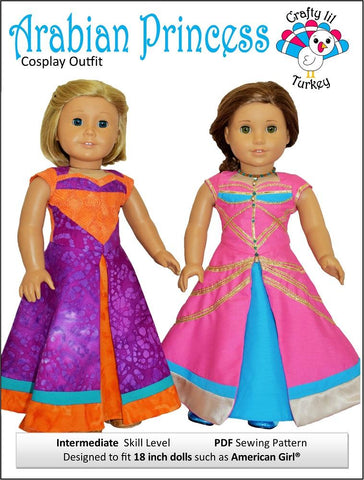 "Crafty Lil Turkey 18 Inch Modern Arabian Princess Cosplay Outfit 18"" Doll Clothes Pattern Pixie Faire"