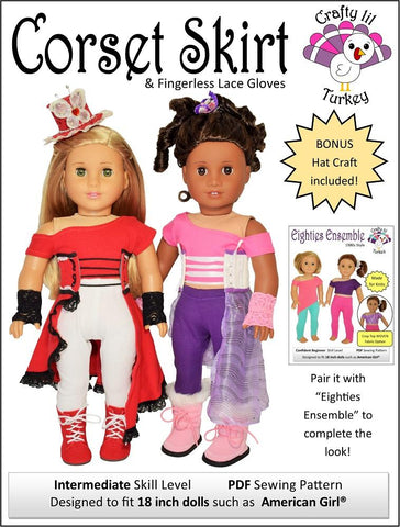 "Corset Skirt and Gloves 18"" Doll Clothes Pattern"
