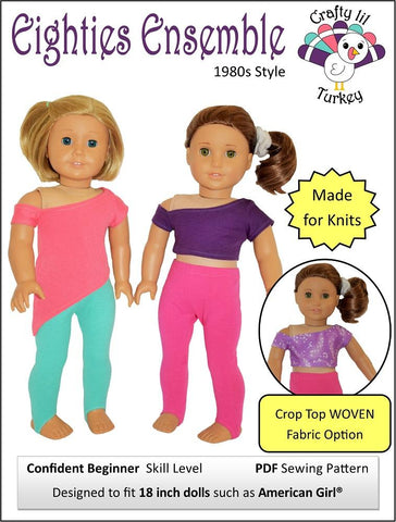 "Eighties Ensemble 18"" Doll Clothes Pattern"