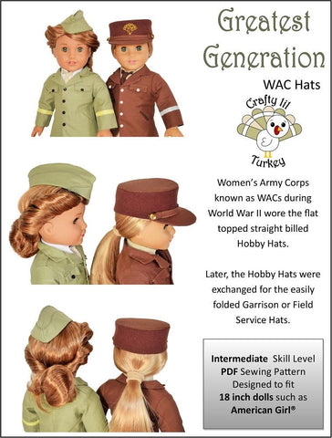 "Greatest Generation: WAC Hats 18"" Doll Clothes Pattern"