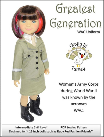 "Crafty Lil Turkey Ruby Red Fashion Friends Greatest Generation: WAC Uniform 15"" Doll Clothes Pattern For Ruby Red Fashion Friends® Pixie Faire"