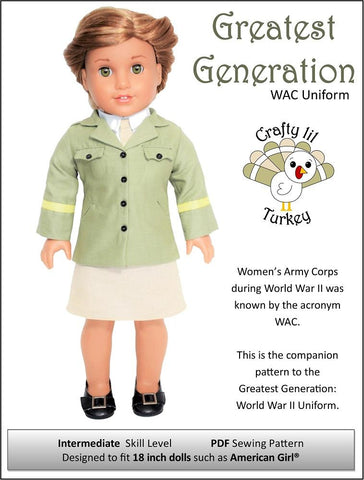 "Greatest Generation: WAC Uniform 18"" Doll Clothes Pattern"