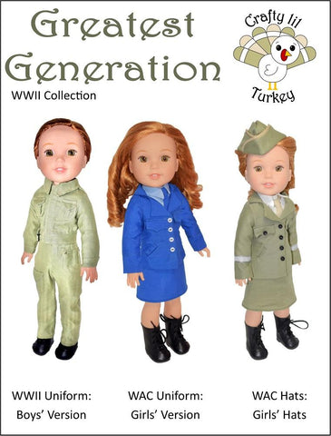 "Crafty Lil Turkey WellieWishers Greatest Generation 14.5"" Doll Clothes Pattern Pixie Faire"
