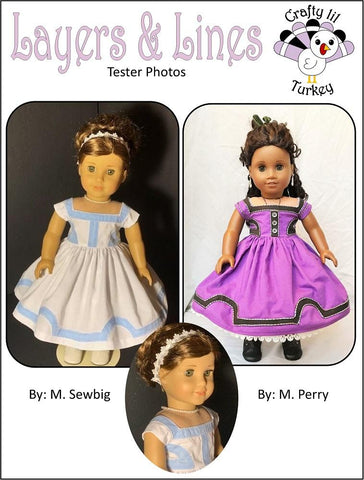 "Layers and Lines 1853 Dress 18"" Doll Clothes Pattern"