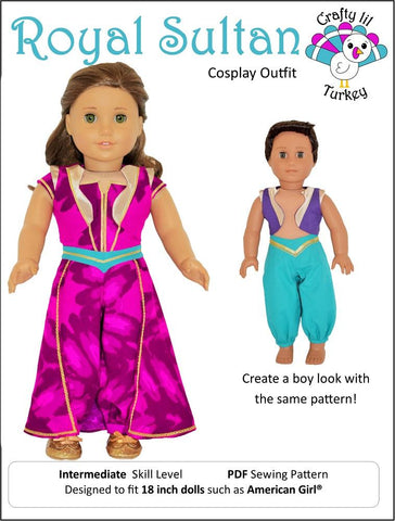 "Crafty Lil Turkey 18 Inch Modern Royal Sultan Cosplay Outfit 18"" Doll Clothes Pattern Pixie Faire"