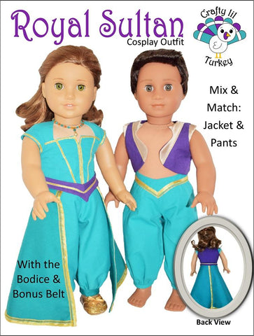 "Royal Sultan Cosplay Outfit 18"" Doll Clothes Pattern"