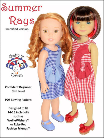 "Crafty Lil Turkey WellieWishers Summer Rays 14-15"" Doll Clothes Pattern Pixie Faire"