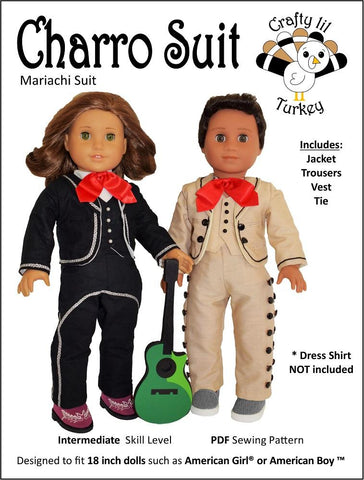 "Charro Suit 18"" Doll Clothes Pattern"
