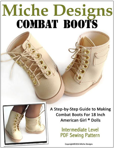 "Miche Designs Shoes Combat Boots 18"" Doll Shoes Pixie Faire"