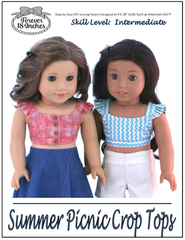 "Summer Picnic Crop Tops 18"" Doll Clothes Pattern"