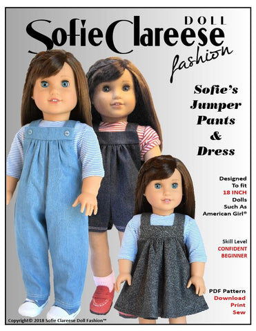 "Sofie's Jumper Pants & Dress 18"" Doll Clothes Pattern"