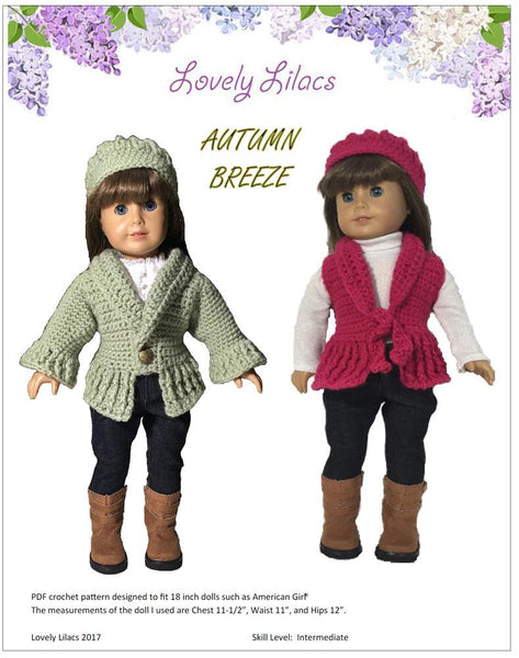 Lovely Lilacs Autumn Breeze Doll Clothes Pattern 18 Inch American