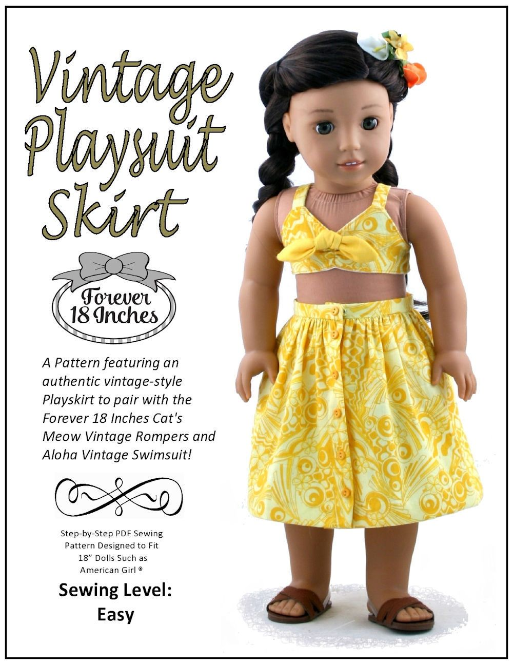 735adc37307 Forever 18 Inches Vintage Playsuit Skirt Doll Clothes Pattern 18 ...