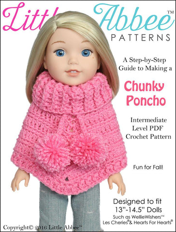"Chunky Poncho Crochet Pattern for 13-14.5"" Dolls"