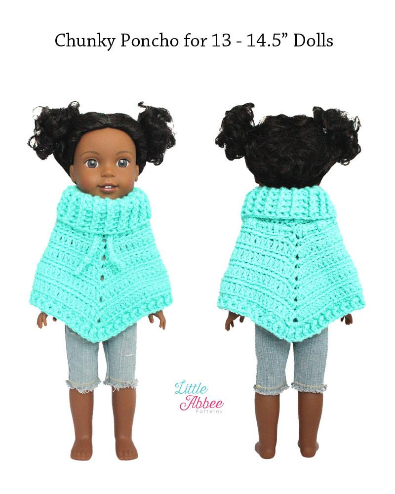 Little Abbee Chunky Poncho Doll Clothes Crochet Pattern For 13 145