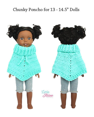 "Little Abbee WellieWishers Chunky Poncho Crochet Pattern for 13-14.5"" Dolls Pixie Faire"