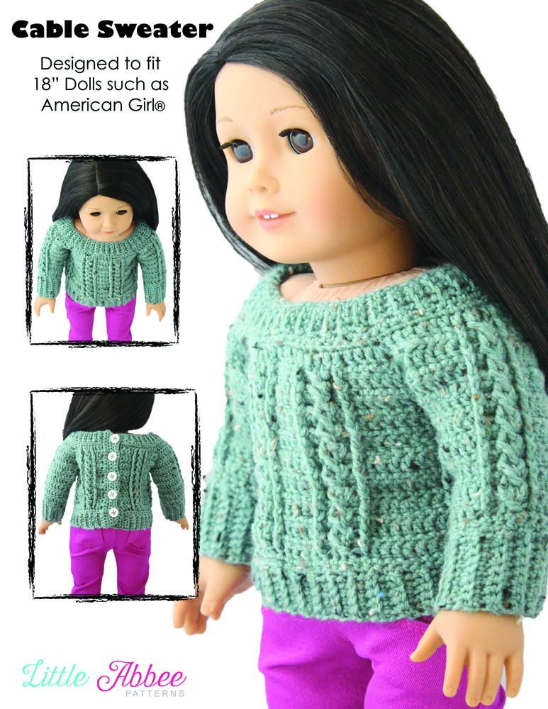 Little Abbee Cable Sweater Doll Clothes Pattern 18 Inch American