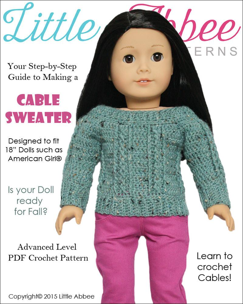 Little Abbee Cable Sweater Doll Clothes Pattern 18 inch American ...